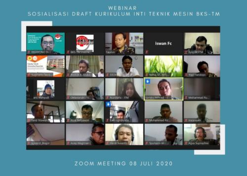 Webinar Sosialisasi Draft Kurikulum Inti Teknik Mesin BKS-TM, 08 juli 2020